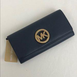 Michael Kors Fulton Flap Wallet Navy Leather New